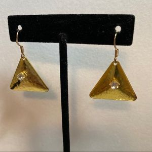 Hammered Gold & Cubic Triangle Earrings